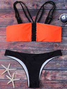 Sandalia Con Acolchado Bikini Palabra De Honor - Negro Y Naranja L
