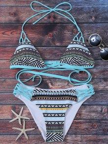 Padded Tribal Print Bikini - Lake Blue M