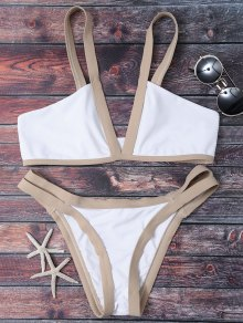 Cut Out Color Block Bikini Bathing Suit - White