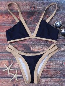Cut Out Color Block Bikini Bathing Suit - Purplish Blue