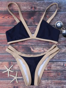 Cut Out Color Block Bikini Bathing Suit - Purplish Blue S