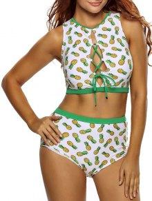 Pineapple Lace Up High Waist Bikini Set