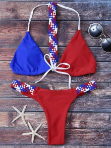 Color Block Knitting Bikini Set