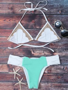 Mesh Panel Color Block Ruched Bikini