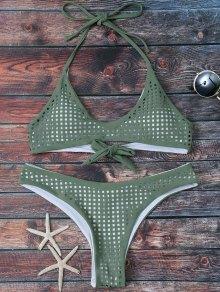 Square Laser Cut Bralette Bikini - Army Green M