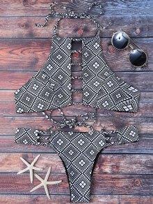Ladder Cutout Geometric Pattern Bikini - Black M