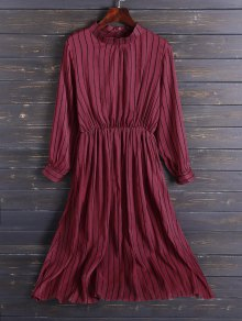 Chiffon Striped Midi Dress - Red