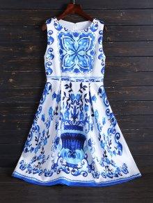 Print Midi Fit and Flare Dress