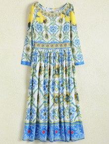 A Line Retro Print Maxi Dress