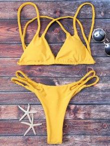 Bikini String Tressé à Rembourrage Soyeux - Jaune M