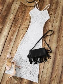 Slip Crochet Backless Maxi Cover Up - White