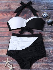 Color Block High Waisted Ruched Bikini Set - White And Black L