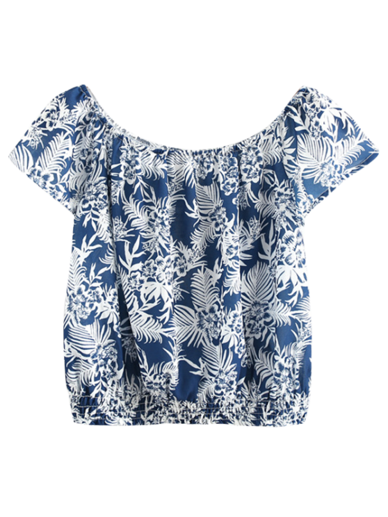 Hombro Impreso Camisa corta - Teal M