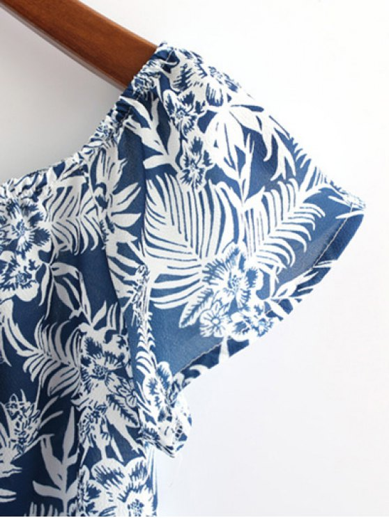 Off Shoulder Printed Crop Top - CADETBLUE S Mobile
