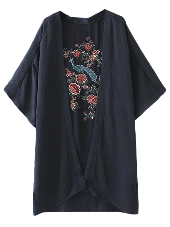 Peacock Flores del bordado del kimono - Azul Purpúreo L