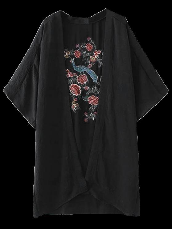 Peacock Flores del bordado del kimono - Negro M
