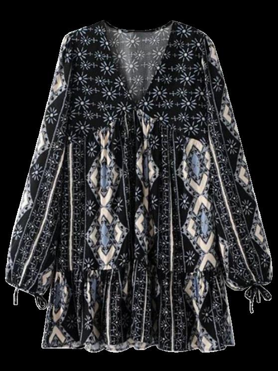 Manga larga tribal volante vestido Impreso - Negro M