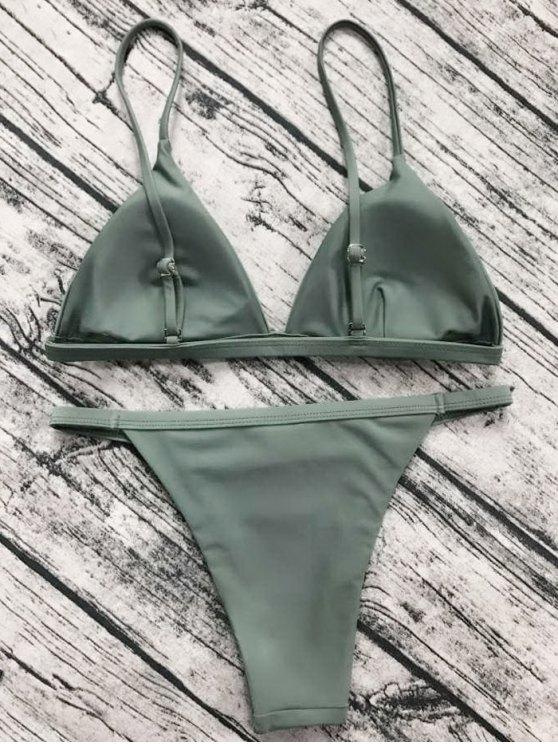 Low Waisted Spaghetti Strap Bikini Set - GREYISH GREEN S Mobile