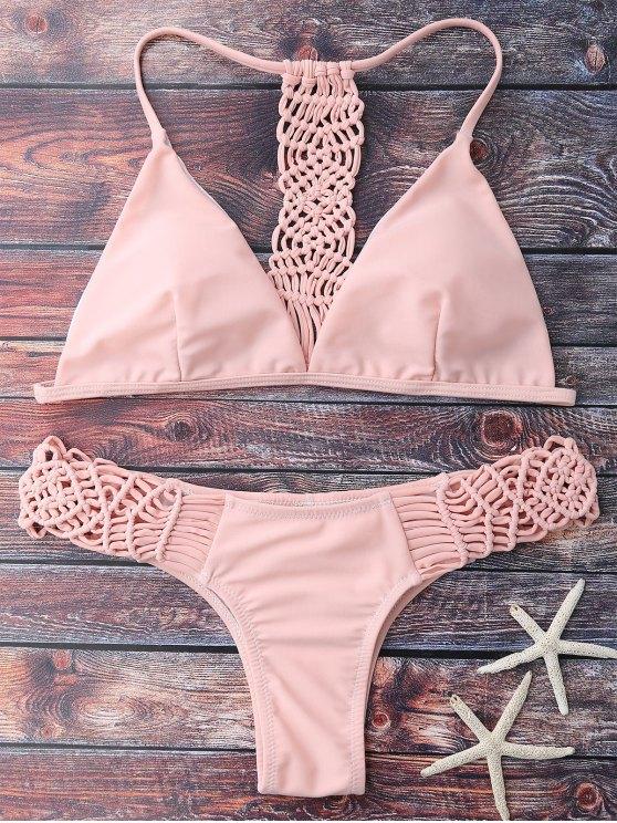 fashion Knitting Strappy Bikini Set - PINK S