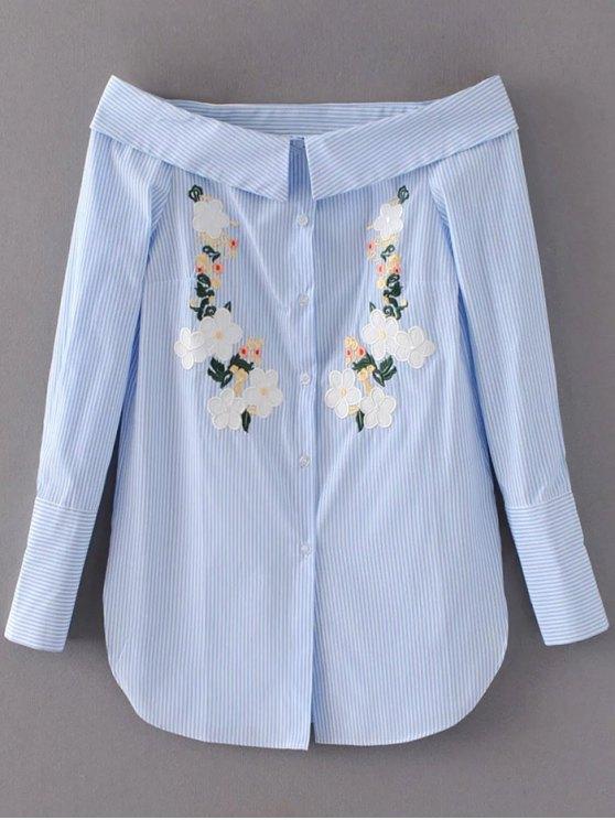 Off Shoulder Floral Stripe Shirt Dress - LIGHT BLUE S Mobile