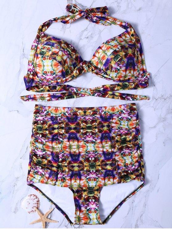 Impresión del extracto de talle alto Set Bikini - Colormix 2XL