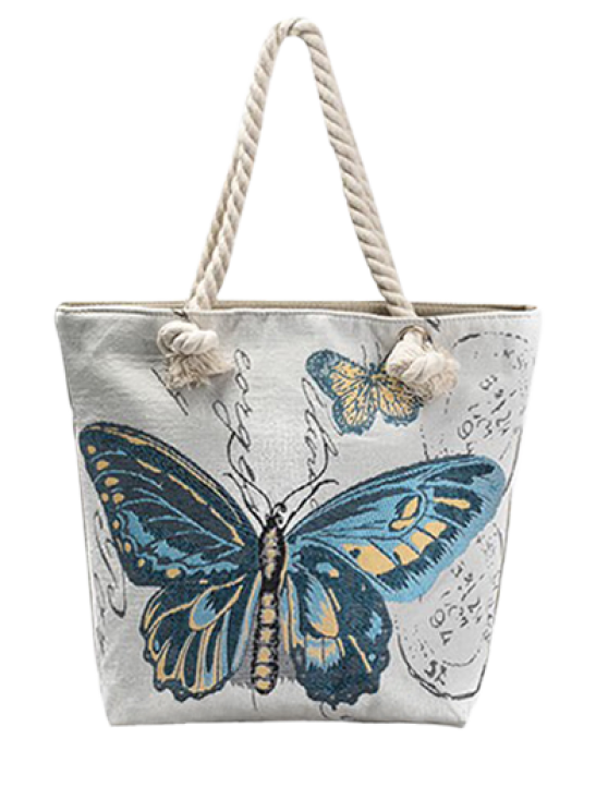 outfits Butterfly Painted Canvas Shoulder Bag - BLUE