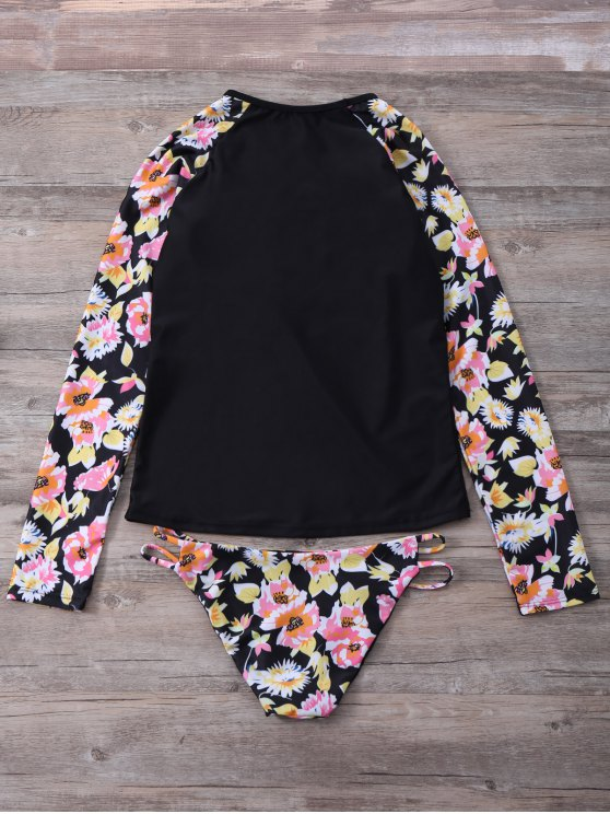 Floral Long Sleeve Top and Briefs Set - COLORMIX L Mobile