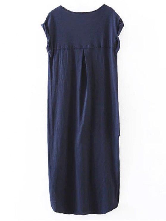 Oversized Shift Maxi Dress - PURPLISH BLUE M Mobile