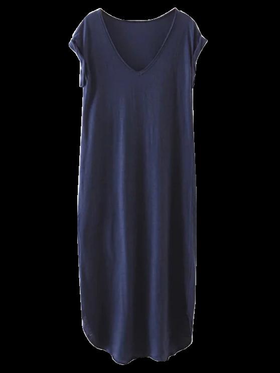 Robe bleu casual maxi à col V pour plage - Bleu Violet M