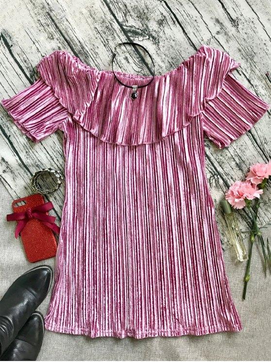 best Ruffle Pleated Velvet Off Shoulder Dress - PINK L