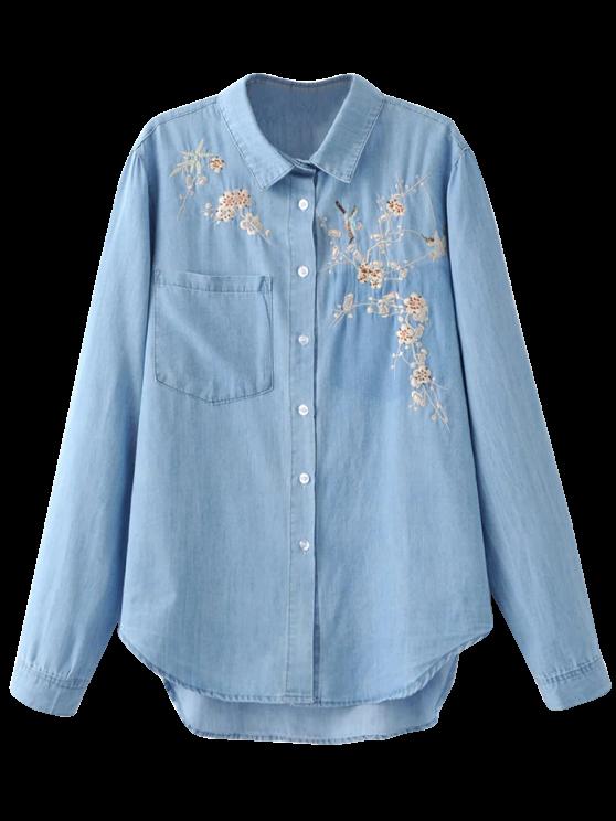 new Embroidered High-Low Denim Shirt - LIGHT BLUE M