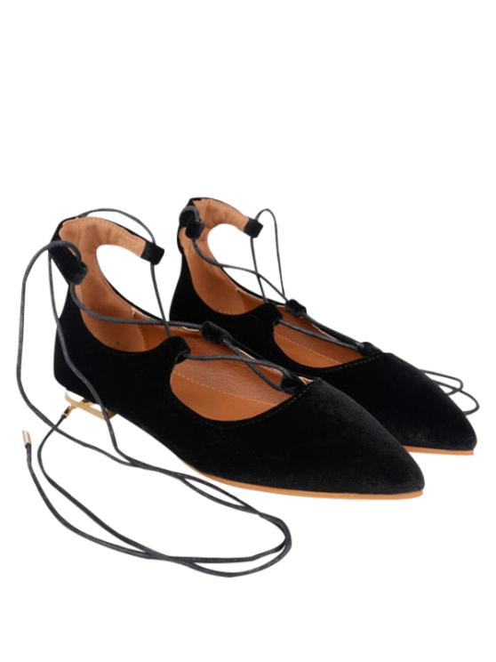 online Suede Pointed Toe Flats - BLACK 40