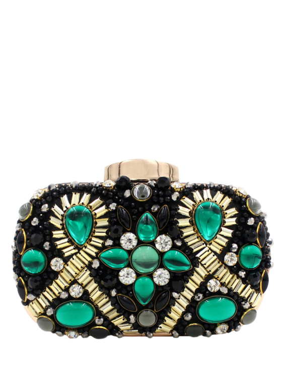 shop Satin Faux Gem Beaded Evening Bag - BLACK AND GREEN