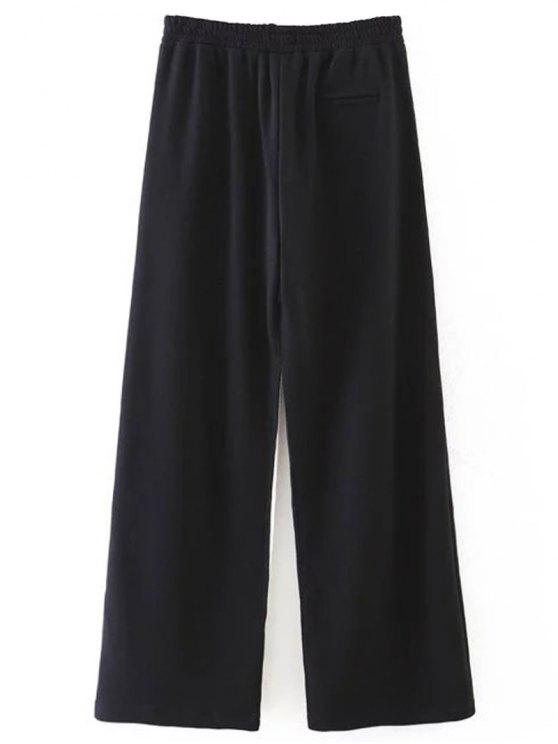 Striped Elastic Waist Wide Leg Pants - BLACK L Mobile