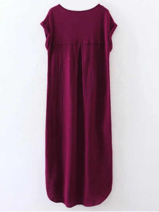 Oversized Shift Maxi Dress - PURPLISH RED S Mobile
