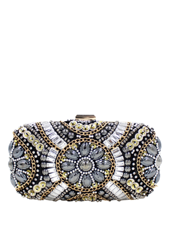 shop Chains Beaded Satin Evening Bag - BLACK