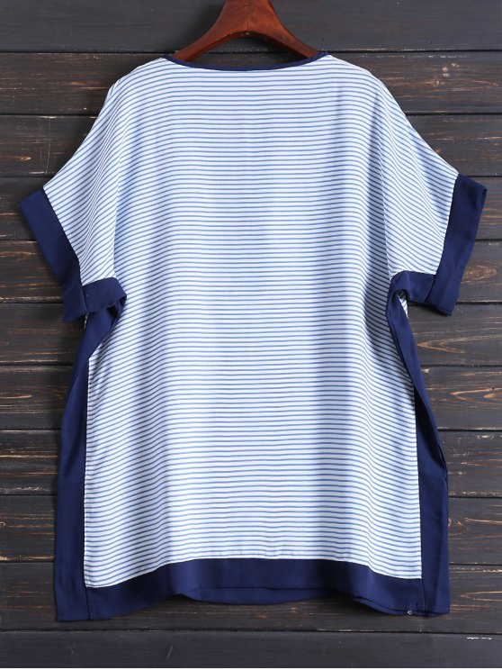 Tunic Striped Cover Up - BLUE ONE SIZE Mobile