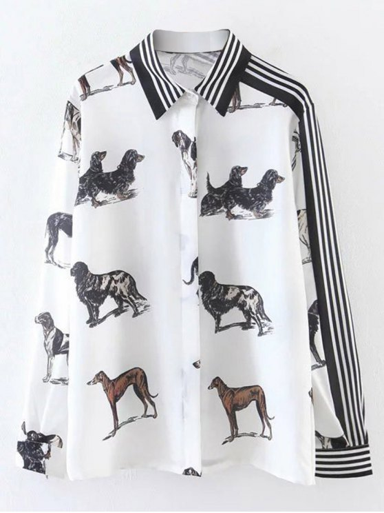 buy Striped Animal Print Shirt - WHITE M