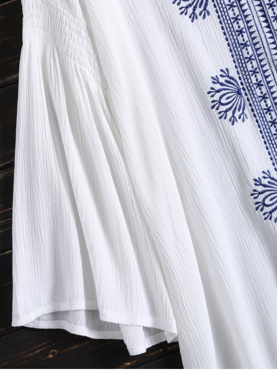 Tunic Embroidered Cover Up - WHITE ONE SIZE Mobile