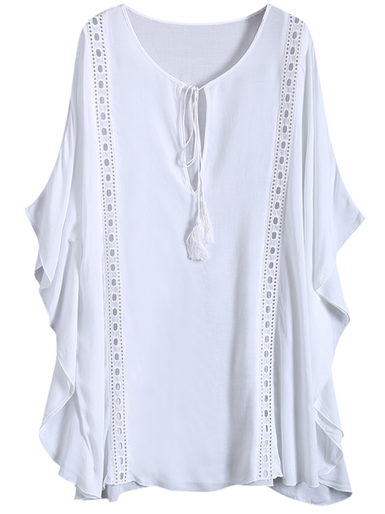 Fringed Cut Out Cover Up - WHITE ONE SIZE Mobile