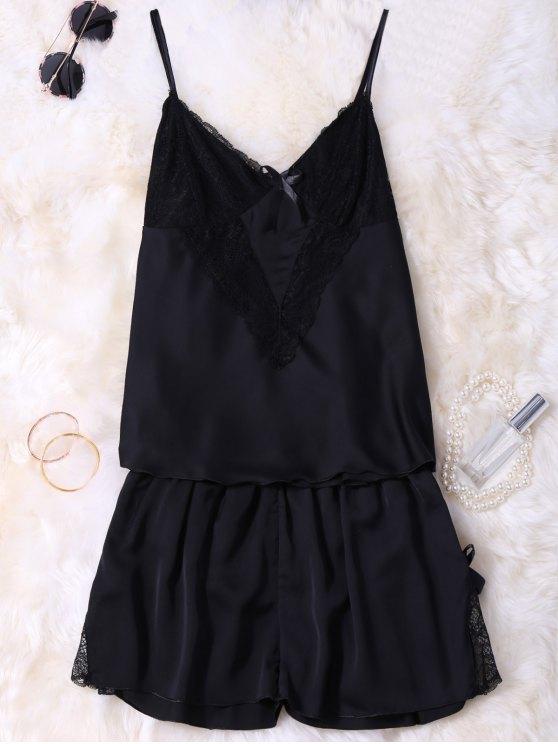 Lace Insert Tank Top and Slik Shorts - BLACK M Mobile