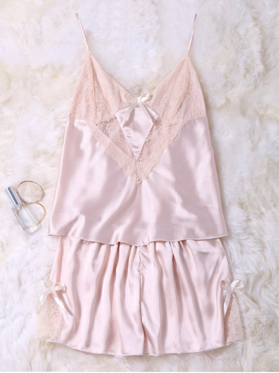 Lace Insert Tank Top and Slik Shorts - CHAMPAGNE M Mobile