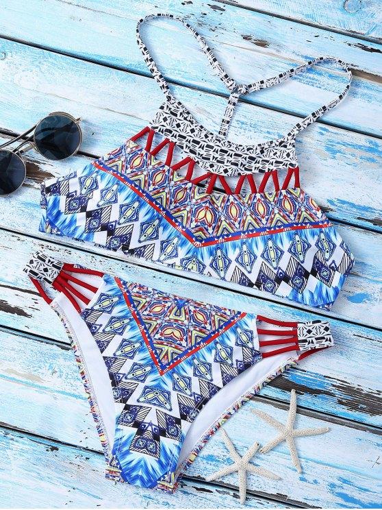 shop T Back  High Neck Printed Bikini Set - MULTICOLOR S