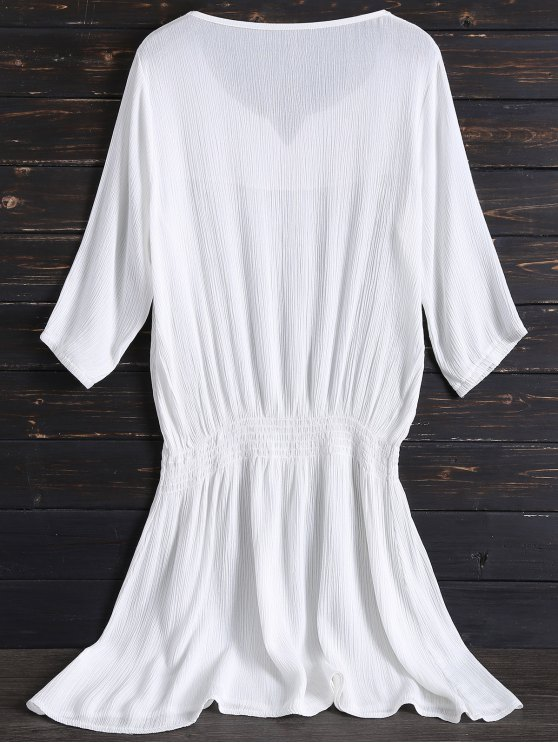 Embroidered Beach Dress - WHITE ONE SIZE Mobile