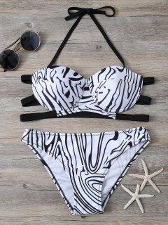 Zebra Print Underwire Bikini - White And Black M