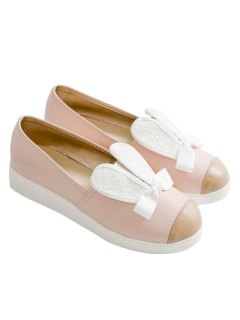 Bowknot Slip On Shoes - Pink 39