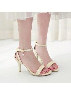 Rhinestone Ankle Strap Sandals - Beige 38