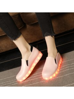 Led Luminous Faux Leather Flat Shoes - Pink 37