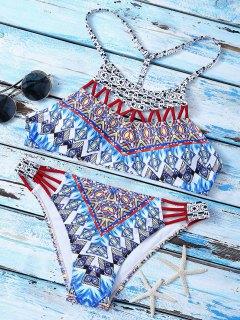 T Back  High Neck Printed Bikini Set - Multicolor L