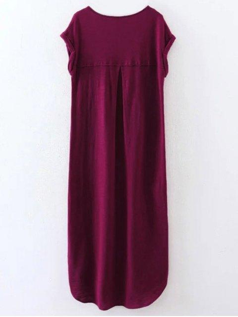 fashion Oversized Shift Maxi Dress - PURPLISH RED S Mobile